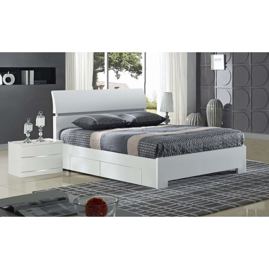 Widney White High Gloss Bed Double with 4 Drawers