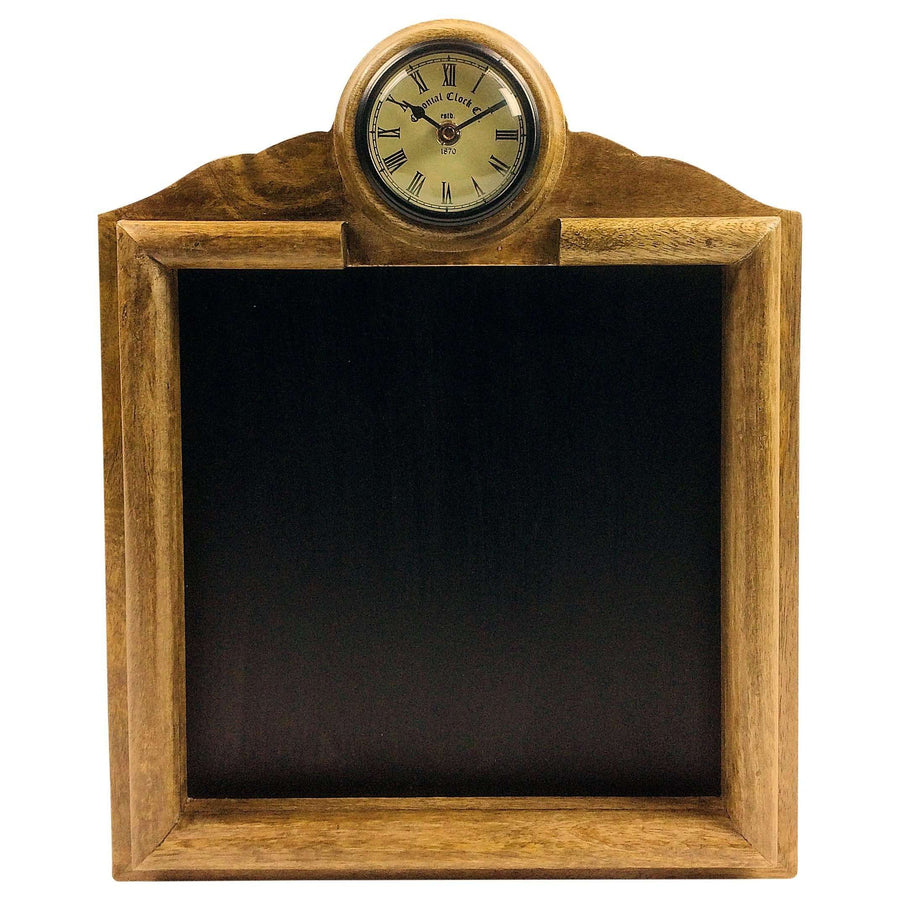 Wooden Blackboard With Clock