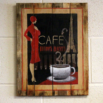 Wooden Coffee Sign - Cafe Paris