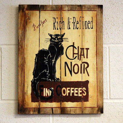 Wooden Coffee Sign - Chat Noir
