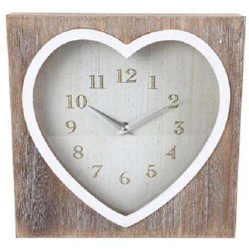 Wooden Heart Lime Wash Clock 26cm