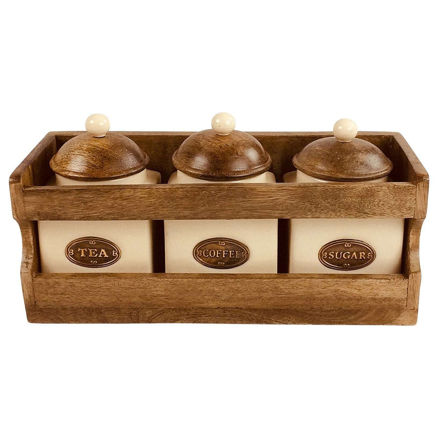 Wooden Rack with 3 Ceramic Jars
