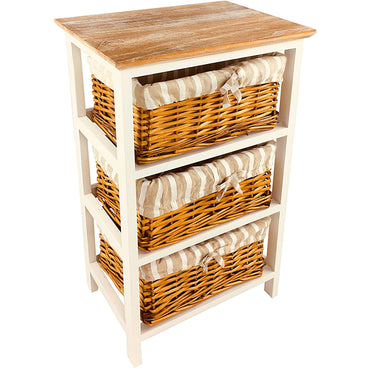 Wooden Storage Cabinet With 3 Baskets 62cm