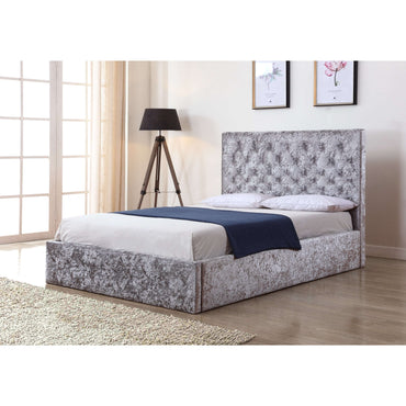 Yasmin Storage Crushed Silver Velvet Double Bed