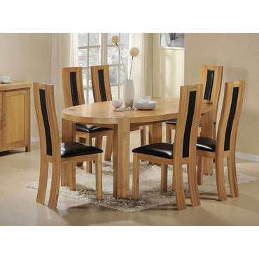 Zeus Oval Dining Set Oak with 6 Chairs