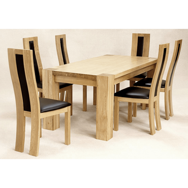 Zeus Rectangle Dining Set Oak 6 Chairs