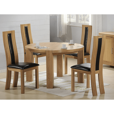 Zeus Round Dining Set Oak 4 Chairs