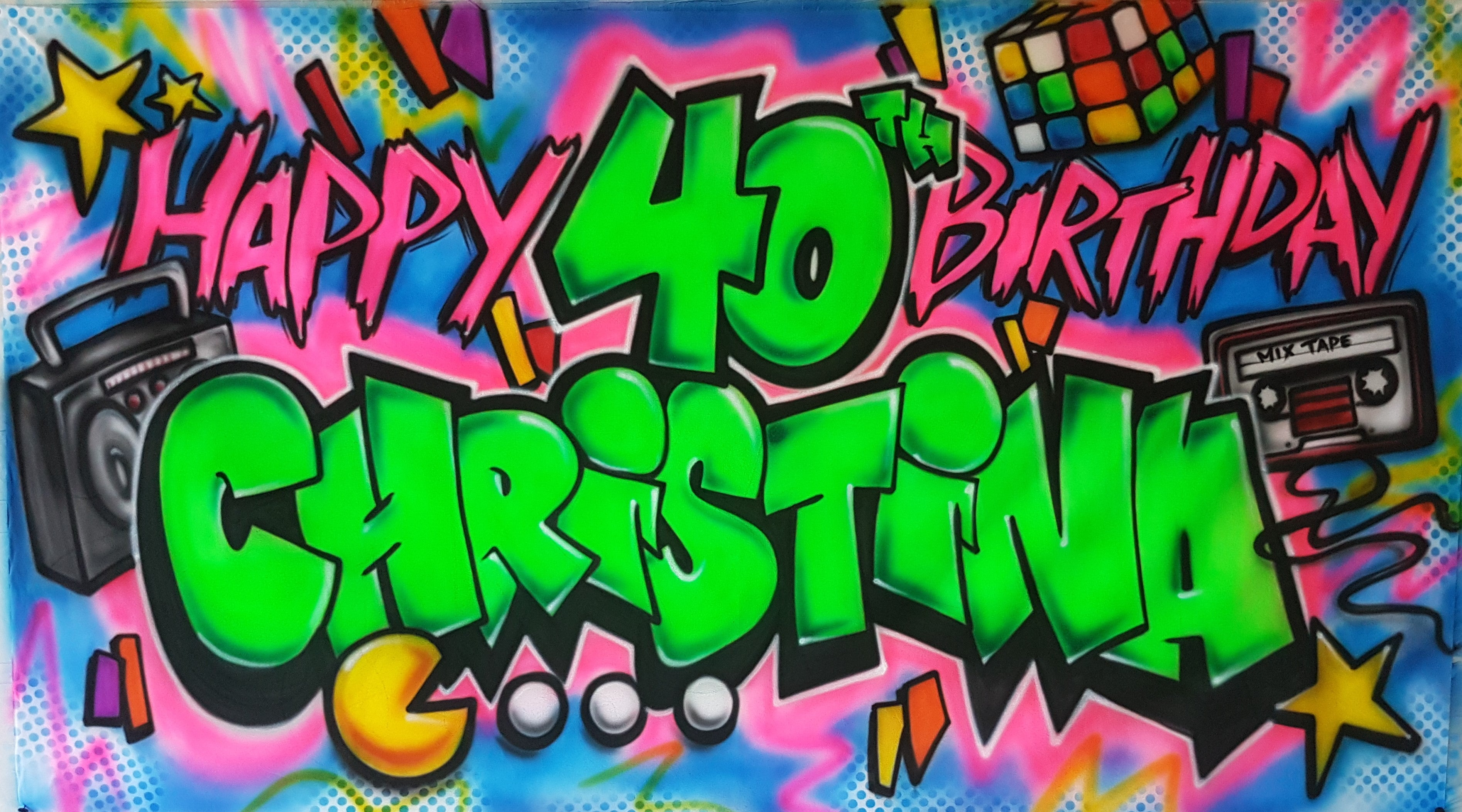 Airbrush Banner 40th Birthday