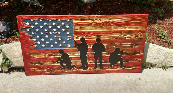 Large Rustic Tattered American Flag With Soldiers
