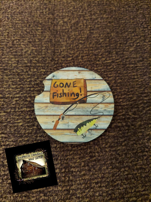 Gone Fishin Car Coaster