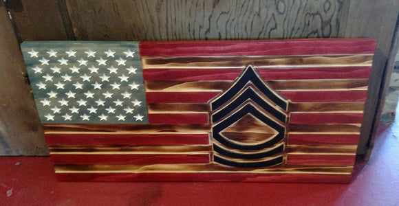 LARGE Rustic Army Rank Flag Military Retirement Promotional Gift