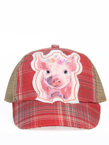 Girls Farm Bred Piggy Patch on Red Plaid Hat with Mesh
