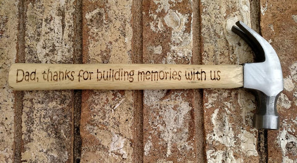 Dad Thanks For Building Memories With Us Personalized Laser Engraved Hammer