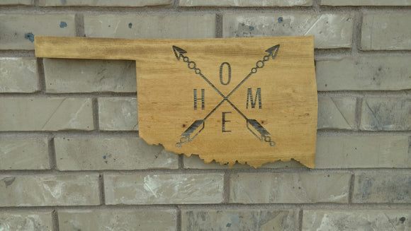 HOME Oklahoma Cutout Laser Engraved Sign