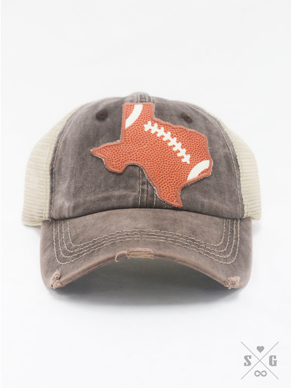 Texas Football Patch on Light Brown Distressed Hat With Mesh
