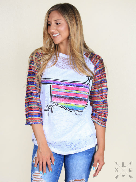 Women's Serape  Oklahoma With Tribal Arrow On  Burnout With Serape  Lace Sleeves