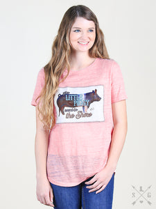 This Little Piggy Patch on Dusty Pink Short Sleeve Tee