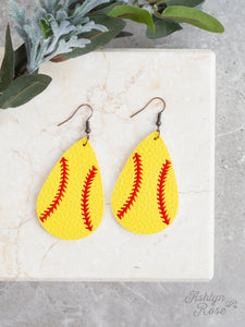 Home Run Leather Softball Drop Earrings
