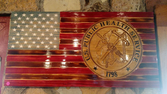 Large US Public Health Service Rustic American Flag