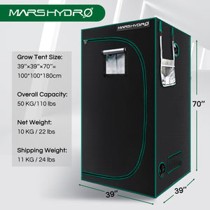 100x100x180cm Indoor Grow Tent Green Dark Box Room Hydroponics  Mylar Non Toxic