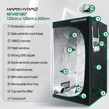 Load image into Gallery viewer, 120x120x200cm Indoor Grow Tent Kit Dark Room Hydroponic 1680D Mylar Non Toxic Box