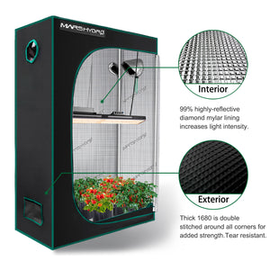 Mars Hydro 120x50x190cm Grow Tents Double Thicker Mylar for Garden and Indoor Hydroponic Plants -Best Match Mars TSL 2000W Led Grow Lights