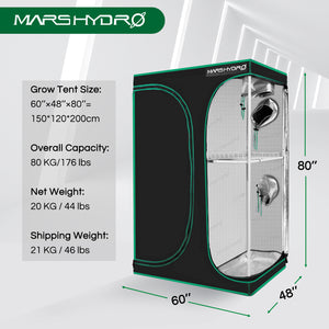 150x120x200cm Indoor Grow Tent Box Mylar Dark Room for Hydroponics Bud Seed Veg Flower Plant
