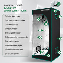 Load image into Gallery viewer, 60x60x140cm Indoor Grow Tent Green Dark Box Room Hydroponics  Mylar Non Toxic