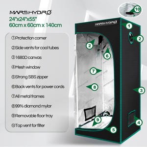 60x60x140cm Indoor Grow Tent Green Dark Box Room Hydroponics  Mylar Non Toxic