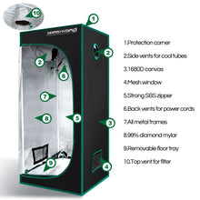 Load image into Gallery viewer, SP 150 Full Spectrum LED Grow Lights + 70x 70x 160 Grow Tent Kits Indoor Garden Veg Flower