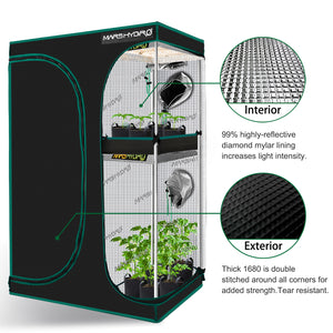 90x60x140cm Indoor Grow Tent Box Mylar Dark Room for Hydroponics Bud Veg Flower Plant