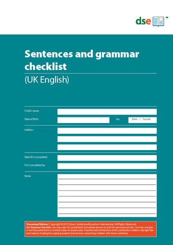Sentences and Grammar Checklist - PDF Edition