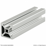 "1002-S 1"" X 1"" Smooth Surface T-Slotted Profile - Two Adjacent Open T-Slots"