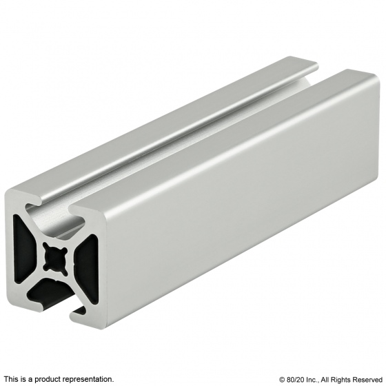 "1004-S 1.00"" X 1.00"" Smooth Surface T-Slotted Profile - Two Opposite Open T-Slots"