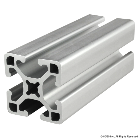"1515-LS  1.5"" X 1.5"" Lite Smooth Surface T-Slotted Profile - Four Open T-Slots"