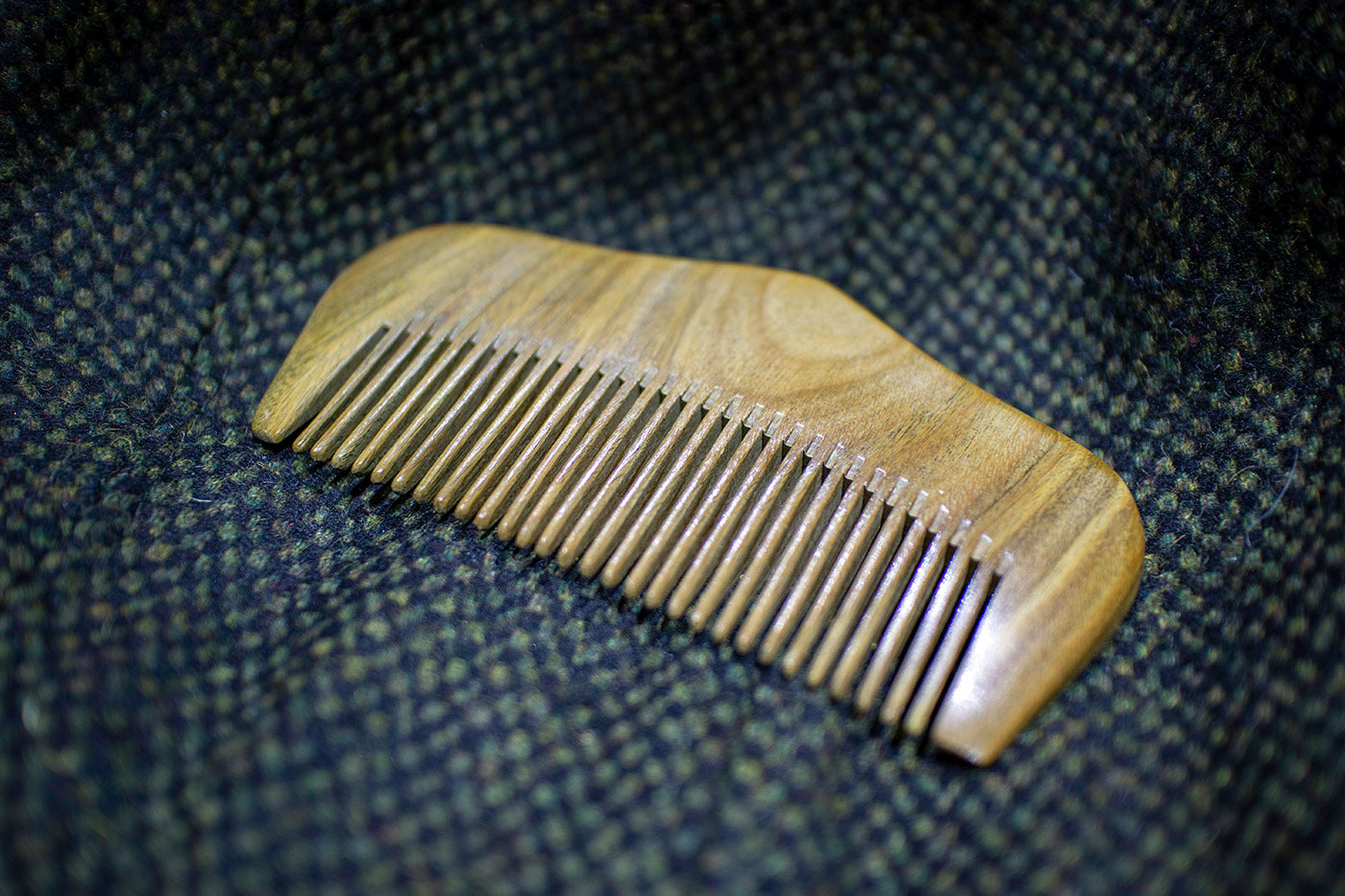 Medium Tooth Green Sandalwood Beard Comb