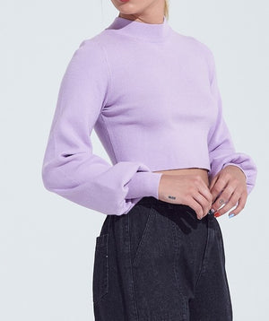 Lavender Dreams Mock Neck Crop Top