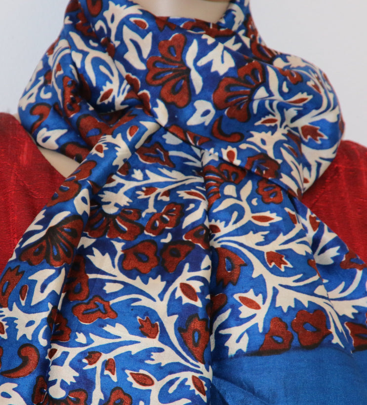 Block printed Indian pure silk scarves
