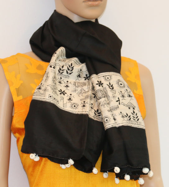 Pure Silk kantha stitch scarf