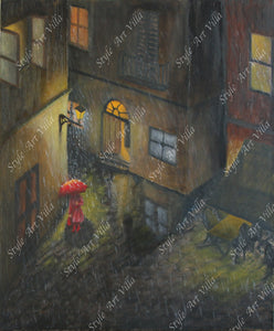 Rainy Evening in Venice - Original signed oil painting - style-art-villa