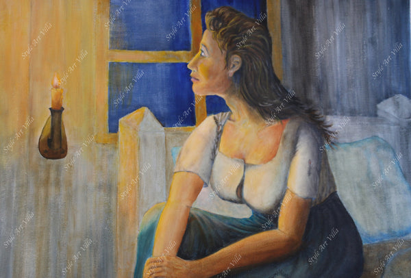 SAV - Waiting - A lady in waiting - Inspired by Edvard Munch - Oil painting on canvas