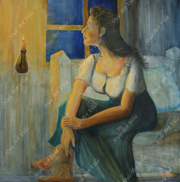 Waiting - Inspired by Edvard Munch - Original signed oil painting - style-art-villa