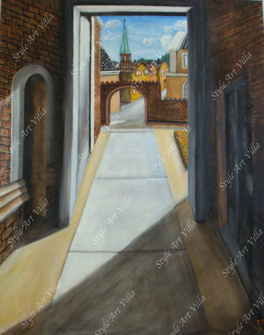 Lübeck Germany - Artists perspective - Original signed oil painting - style-art-villa