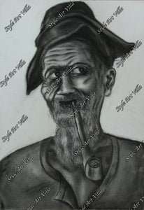 Old Miner smoking - Charcoal study - Original signed charcoal study - style-art-villa