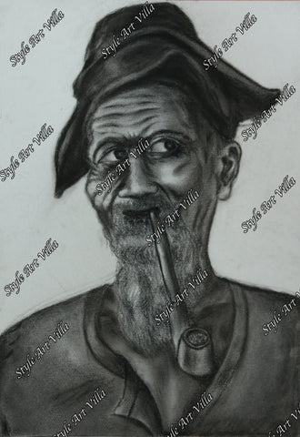 Old Miner smoking - Charcoal study
