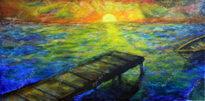 Sunrise by seashore pierre - Impasto - Original signed oil painting - style-art-villa