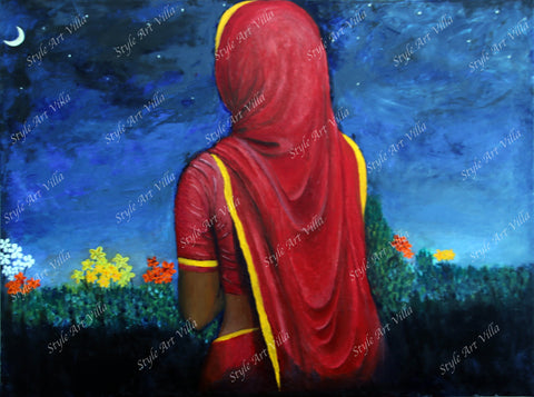 Indian Lady in the garden - Original signed oil painting - style-art-villa