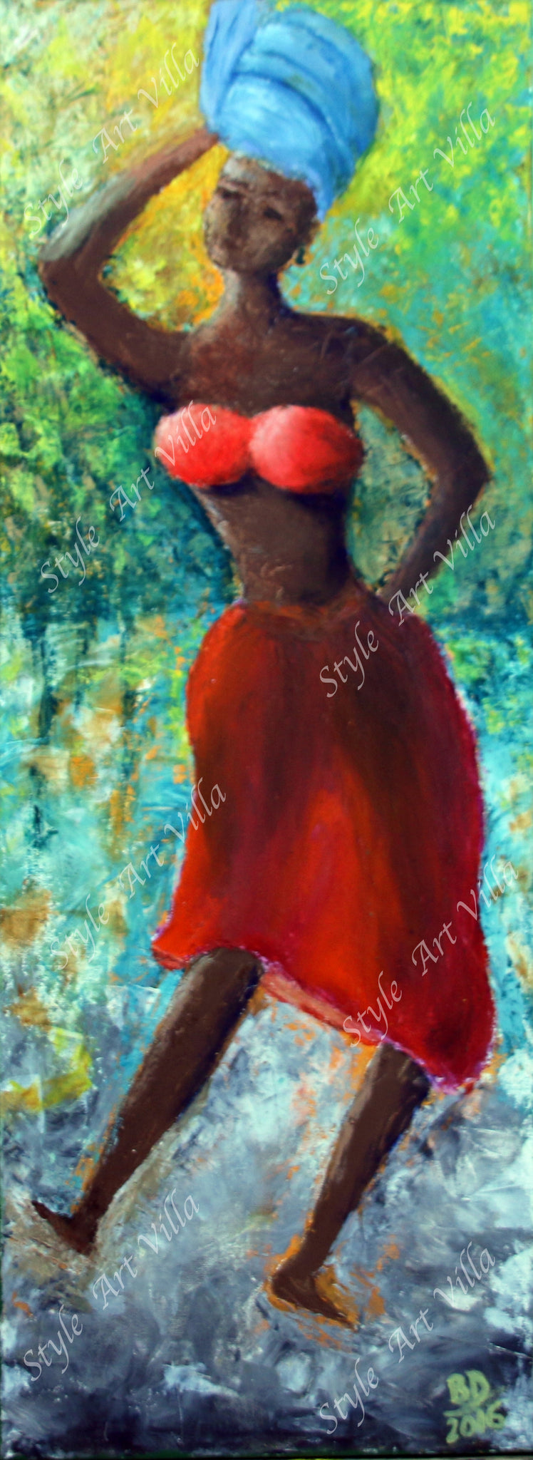Dancing African Woman - Impasto - Original signed oil painting - style-art-villa