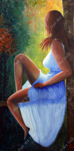 SAV - Tranquility - A lady in the woods - Oil paint on canvas