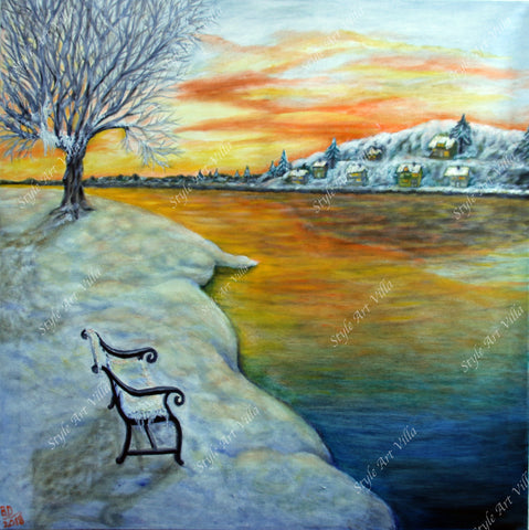 SAV - Norwegian Winter Evening - Oil painting on canvas